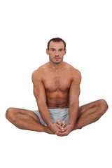 Fit man in the lotus position