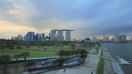 Sunset at Marina Barrage in Singapore Timelapse 1920x1080