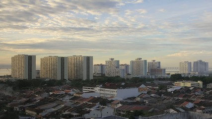 Penang Georgetown in Malaysia at Sunrise Timelapse