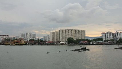 Tan Jetty Heritage Site in Penang Sunset Timelapse 1080p