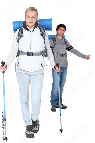 Studio shot of a hiking couple