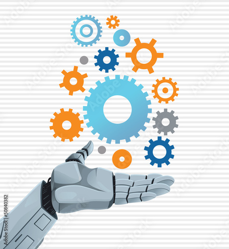 Robot hand holding gears