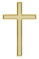 Gold  cross isolated on white.