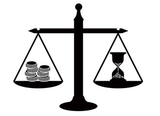 scales with an hourglass and coins