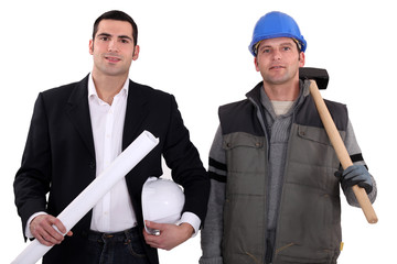 Architect with a construction worker