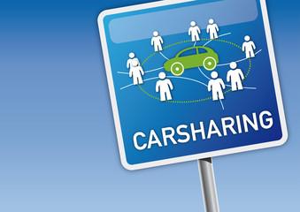 Carsharing-Schild mit Himmel