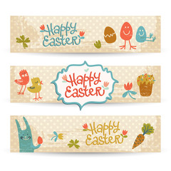 Happy easter doodle banners set