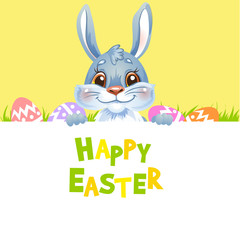 Happy Easter bunny with text banner.