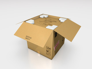 a cardboard box 3d illustration