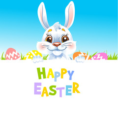 Happy Easter Bunny holding banner.