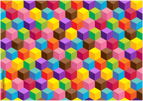 vector background with dimensional color cubes