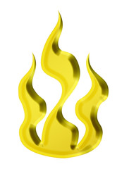 3d golden fire icon - illustration