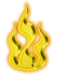 3d golden fire - illustration