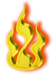 3d gold fire icon - illustration
