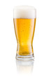 canvas print picture - Glass of fresh beer with cap of foam isolated on white backgroun