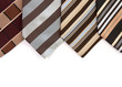 Different neckties on white
