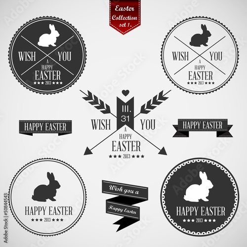 Set of easter badges