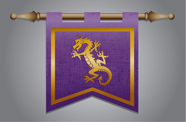 Purple and Gold Medieval flag with dragon emblem