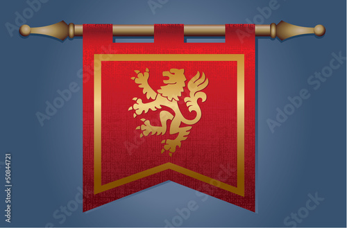 Red and Gold Medieval flag with dragon emblem