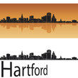 Hartford skyline in orange background