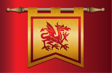 Gold and Red Medieval flag with dragon emblem