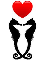 Schwarzes Seepferdchenpaar mit rotem Herz – Vektor