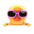 Easter chick in pink shades peeps over the top