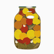 Yellow tomatoes  in glass bank. vector illustration