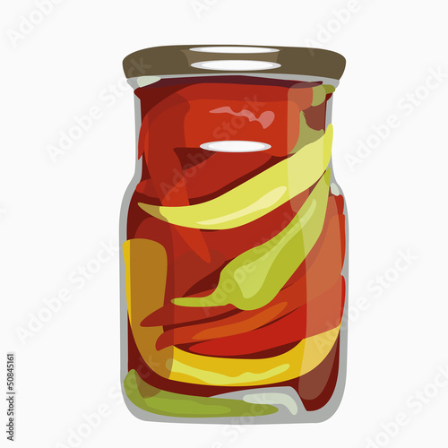 Paprika in glass bank. vector illustration