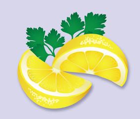 Lemon and parsley garnish