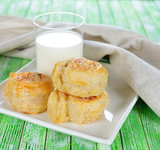 .Puff pastry rolls with cheese