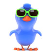 Blue bird in green shades