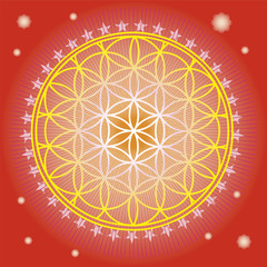 Flower of life in red space-vector illustration