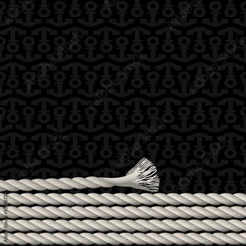 Black background pattern of anchors and marine rope