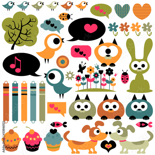 Cute scrapbook elements animals images