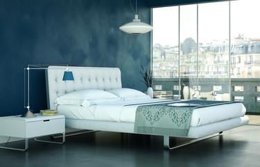 modernes Schlafzimmer in Stadtwohnung