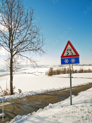 Monferrato winter scene color image