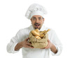Funny chef with Italian bread