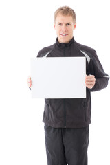 a young sporty man on white background