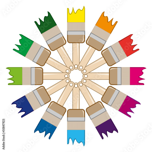 paintbrushes arranged in an circle