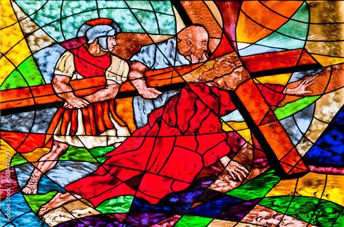 Naklejka Stained glass showing Jesus falls under the Cross