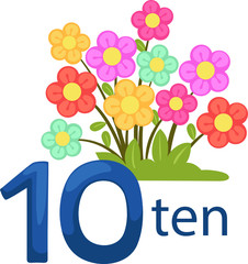 number10 character with flowers