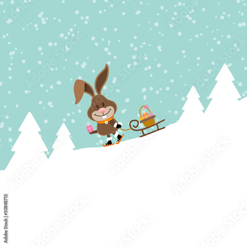 Bunny Skiing Sleigh Easter Basket Winter Forest Snow