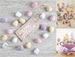 Three different easter images with colorful eggs