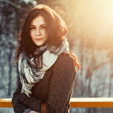 Outdoor portrait of young pretty beautiful woman