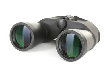 Black modern binoculars isolated on white