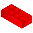 Lego. Red plastic building block.