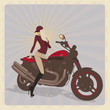Fashion girl  with motorbike