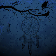 Dark blue background with dream catcher and birds