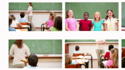 Montage of pupils with teacher studying